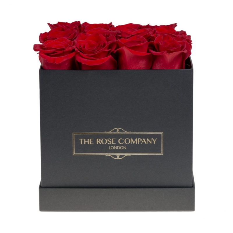 SQUARE BLACK BOX - Red fresh roses
