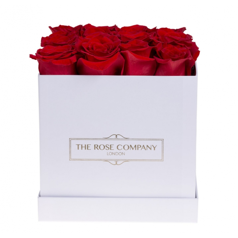 square white box with red roses
