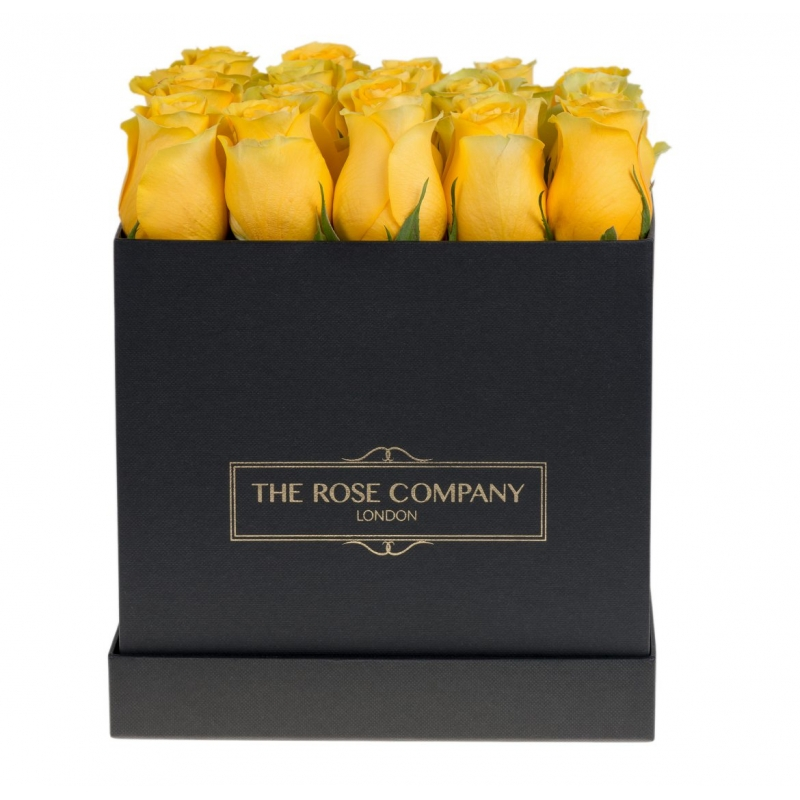 SQUARE BLACK BOX - Yellow  fresh roses