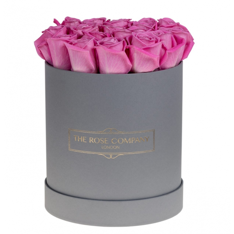 GREY HIGH ROUND BOX -Pink fresh roses