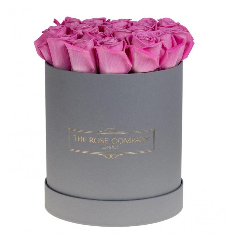 GREY ROUND BOX -PINK  ROSES