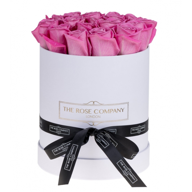 WHITE HIGH ROUND BOX - Pink fresh roses