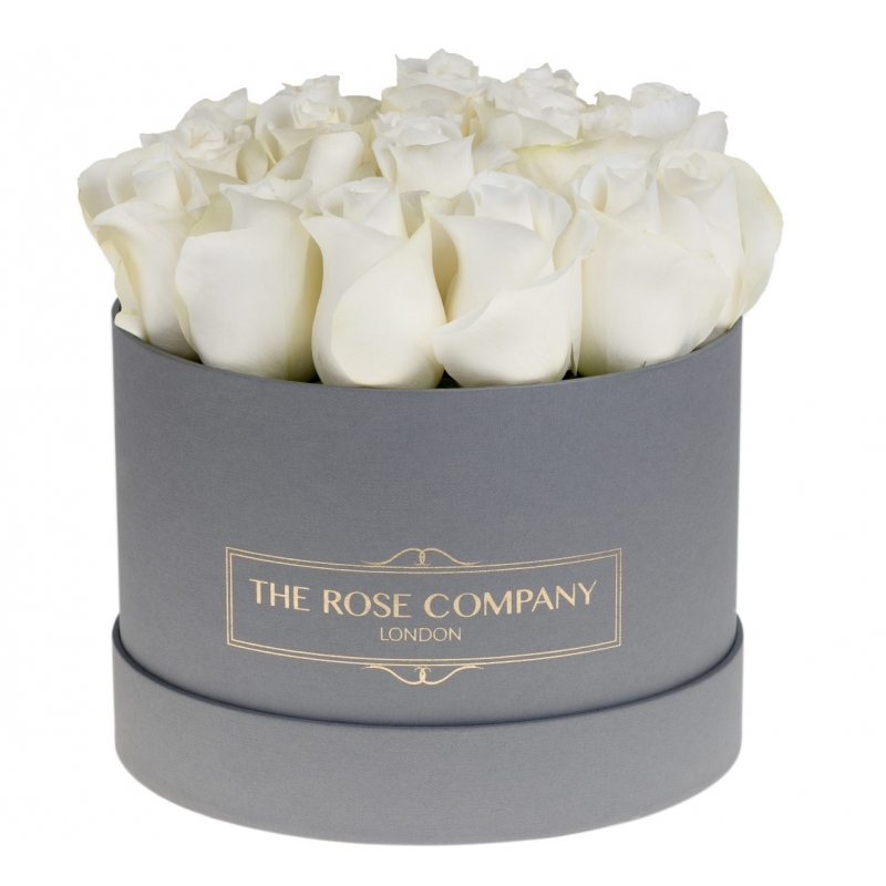 SMALL GREY BOX -  White fresh roses