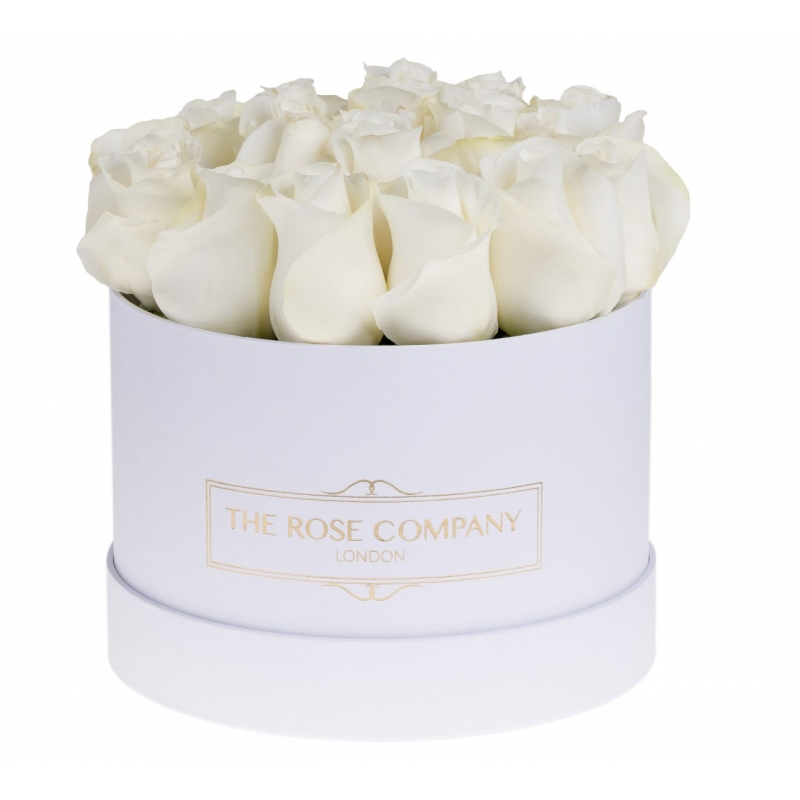 SMALL WHITE BOX - White fresh roses