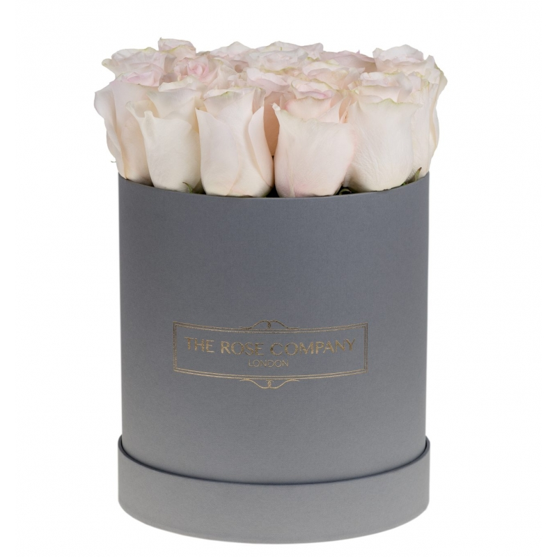GREY HIGH ROUND BOX -Light pink fresh roses