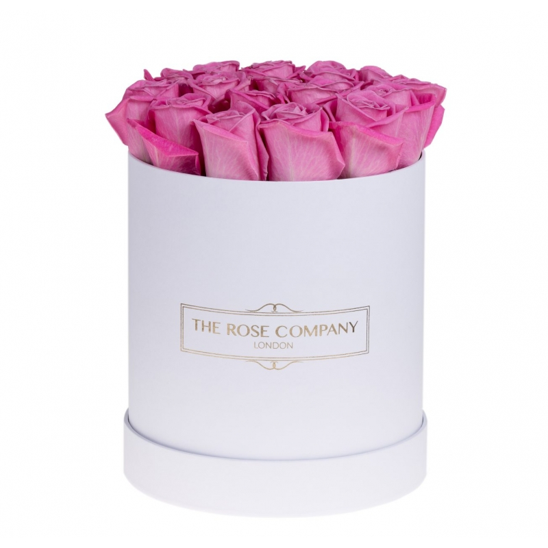 Luxury Roses London Small High Round White Box With Pink