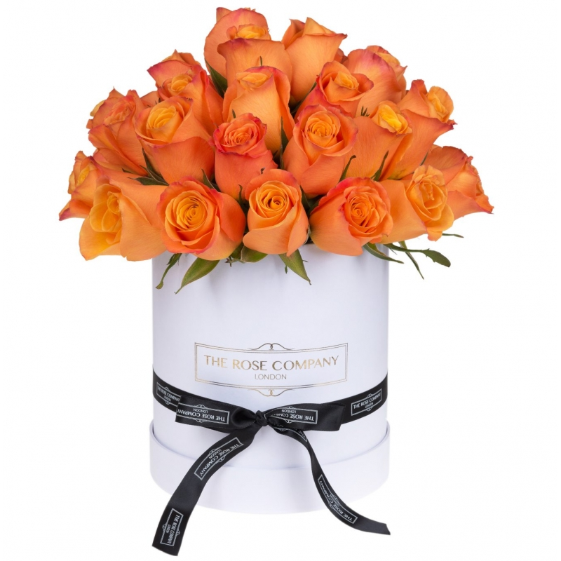 WHITE HIGH ROUND BOX -  Orange roses