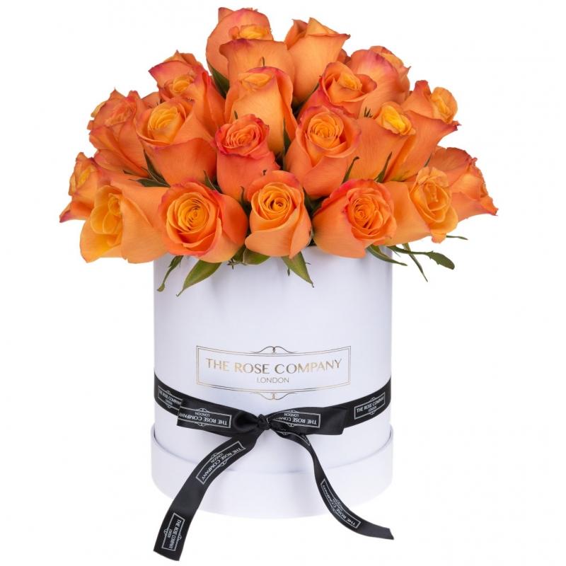 SMALL HIGH WHITE BOX -  ORANGE  ROSES