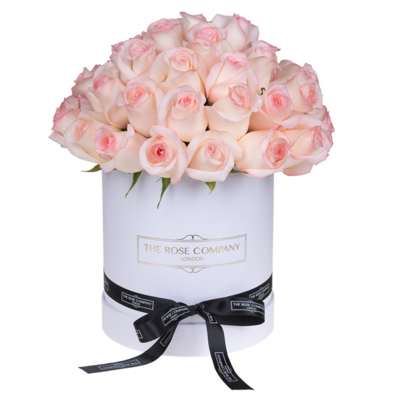 WHITE HIGH ROUND BOX - Light pink roses