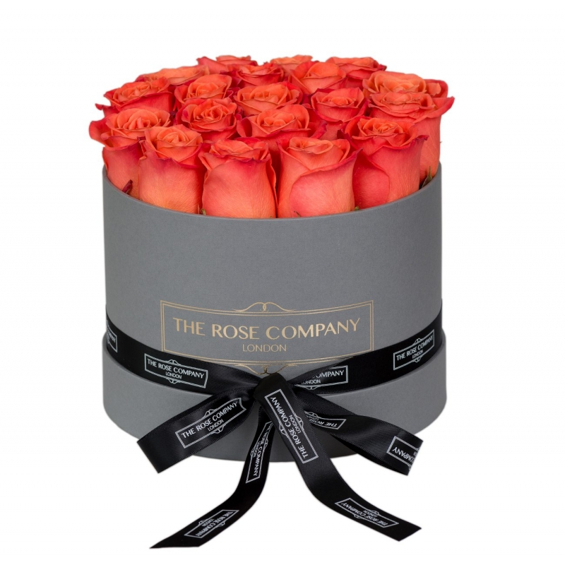 SMALL GREY BOX - Orange roses