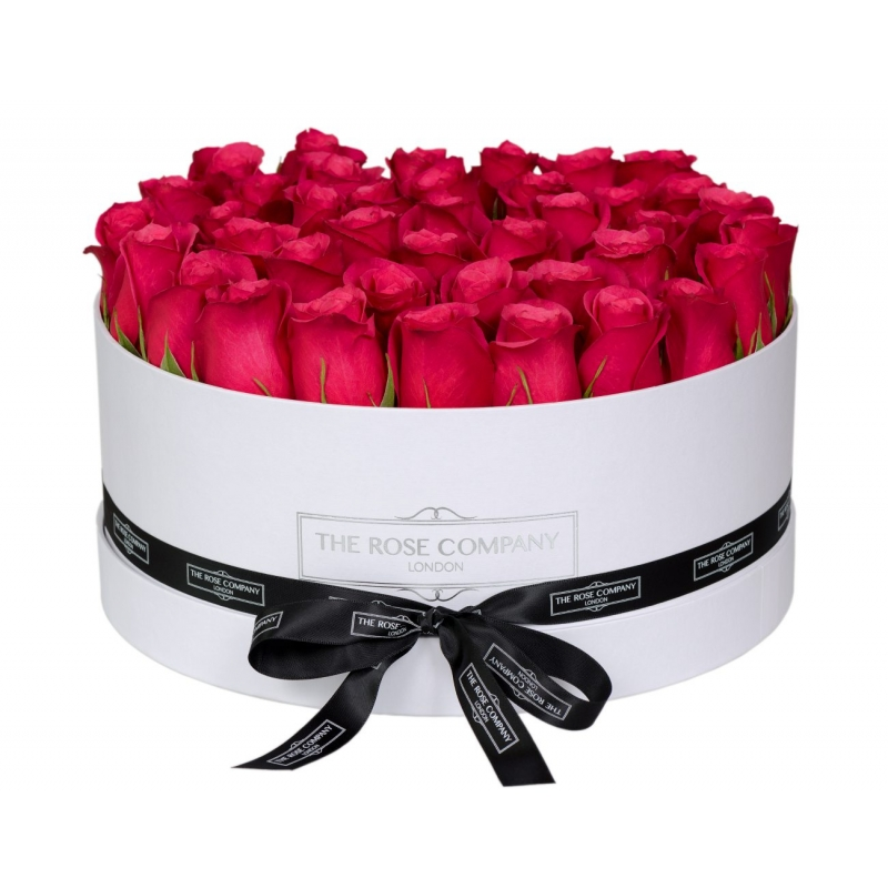 LARGE WHITE BOX - Hot pink fresh roses