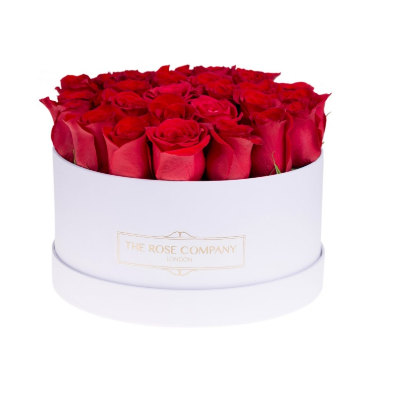 MEDIUM WHITE BOX - Red roses