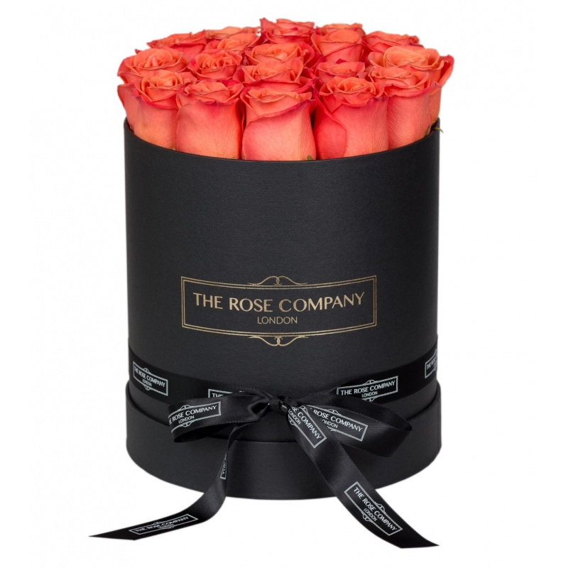 SMALL HIGH BLACK BOX - Orange fresh roses