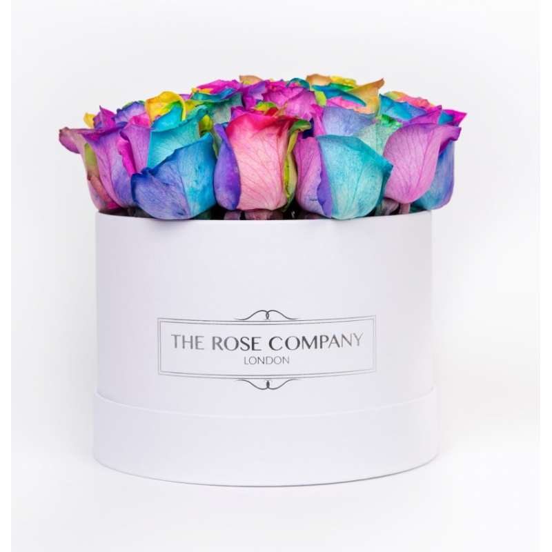 SMALL WHITE BOX - Rainbow roses