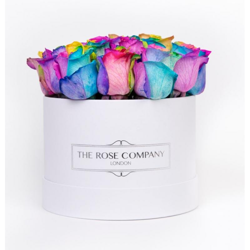 Small low white round box - rainbow roses