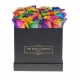 Square black box with rainbow roses