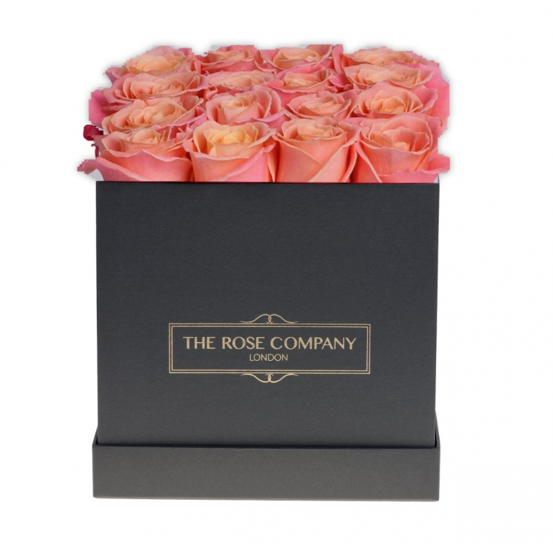 SQUARE BLACK BOX - Peach  fresh roses