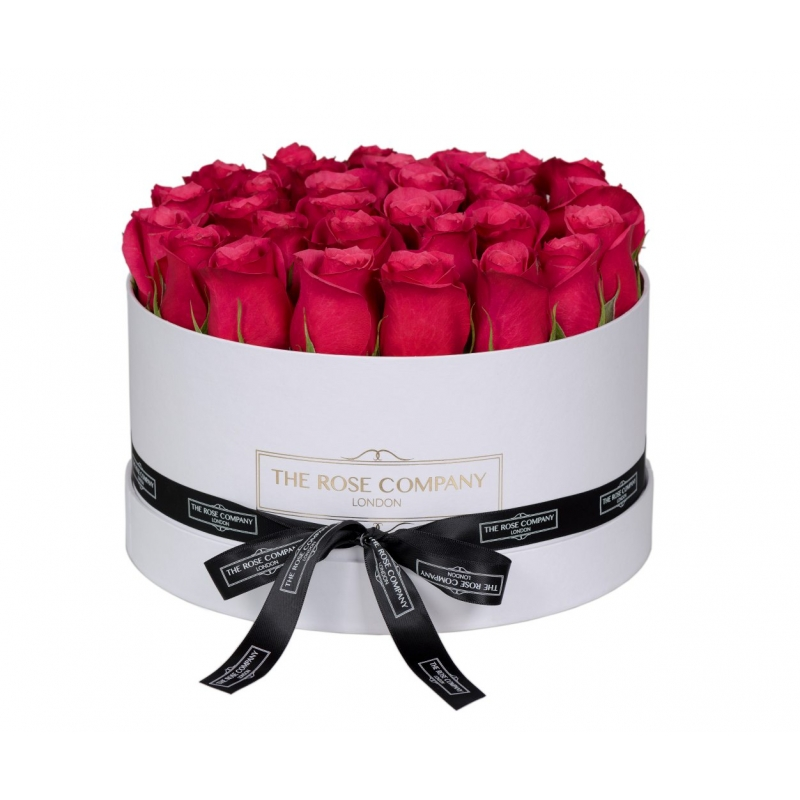 MEDIUM WHITE BOX - Hot pink roses