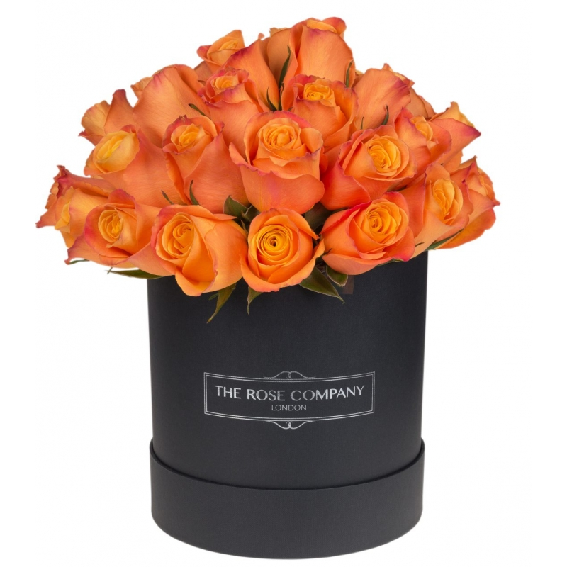 BLACK HIGH ROUND BOX -  Orange roses
