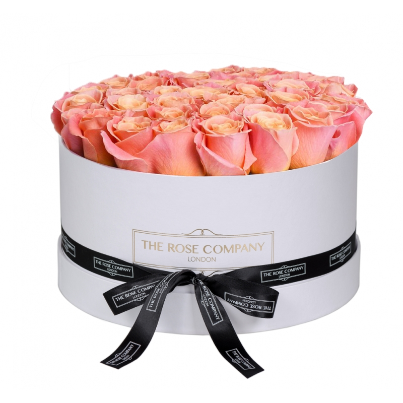 MEDIUM WHITE BOX - Peach roses