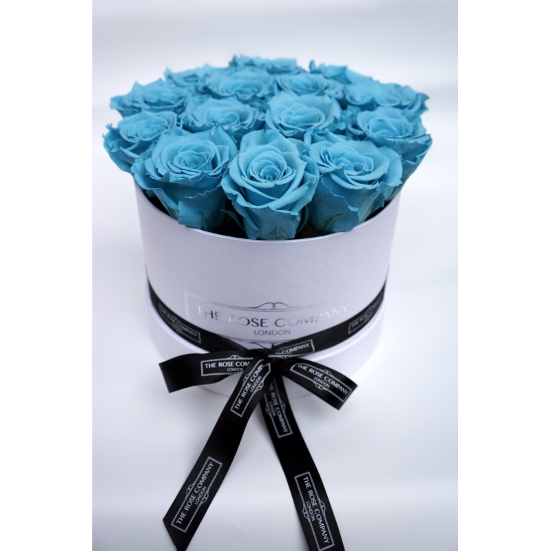 BLUE INFINITY ROSES - WHITE BOX