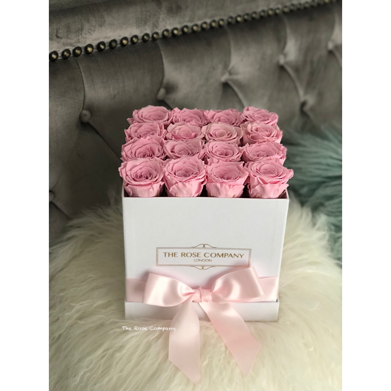 SQUARE BOX SWEET PINK ETERNITY ROSES WITH RIBBON