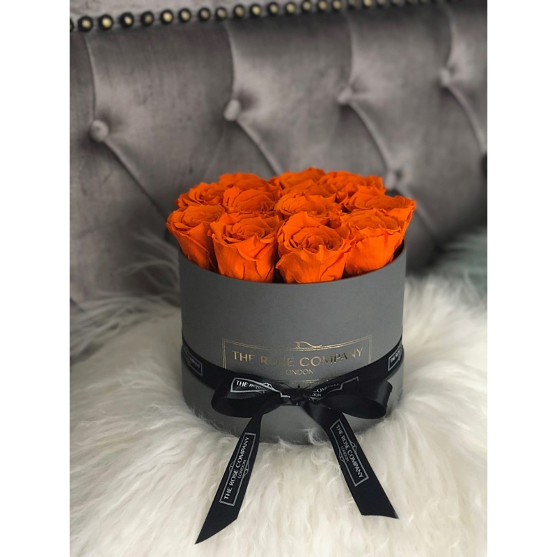 ORANGE ETERNITY ROSES- grey box