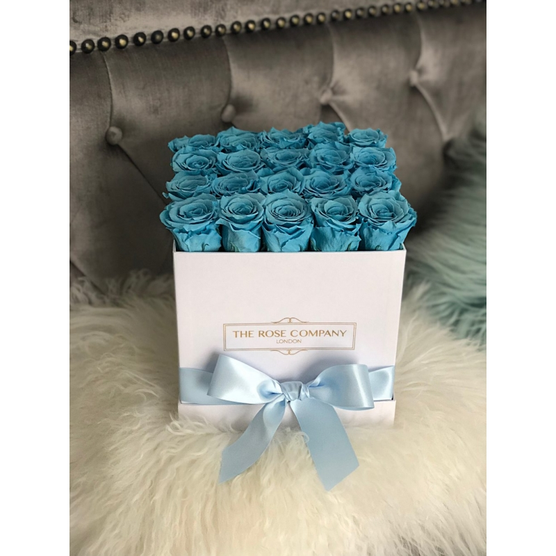 BLUE ETERNITY ROSES WHITE SQUARE BOX