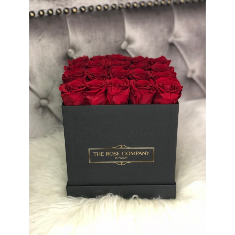 RED ETERNITY ROSES -BLACK SQUARE BOX