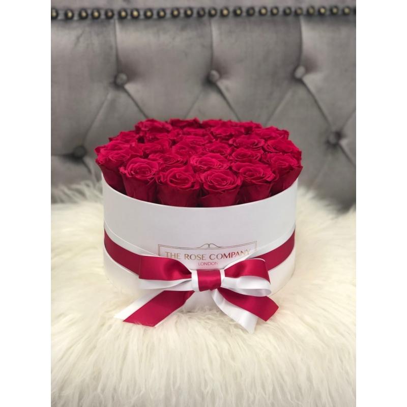CHERRY ETERNITY ROSES  - WHITE MEDIUM BOX