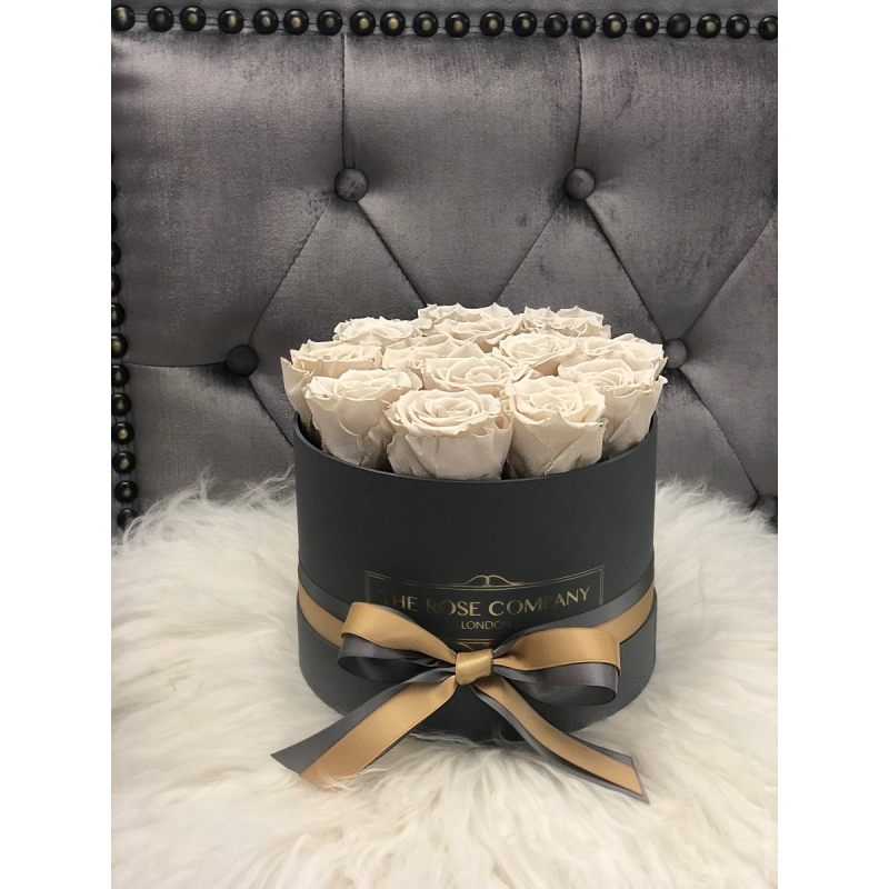 IVORY ETERNITY ROSES - grey box with ribbon