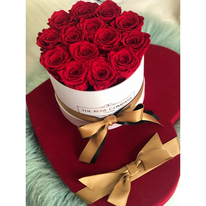RED ETERNITY ROSES - white box