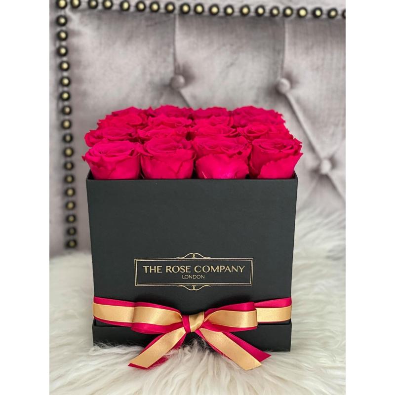 SQUARE BLACK BOX- cherry roses