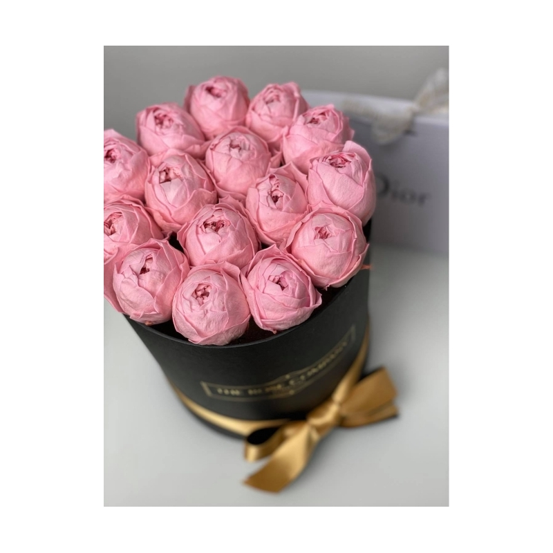 Pink Infinity Peony - small black box